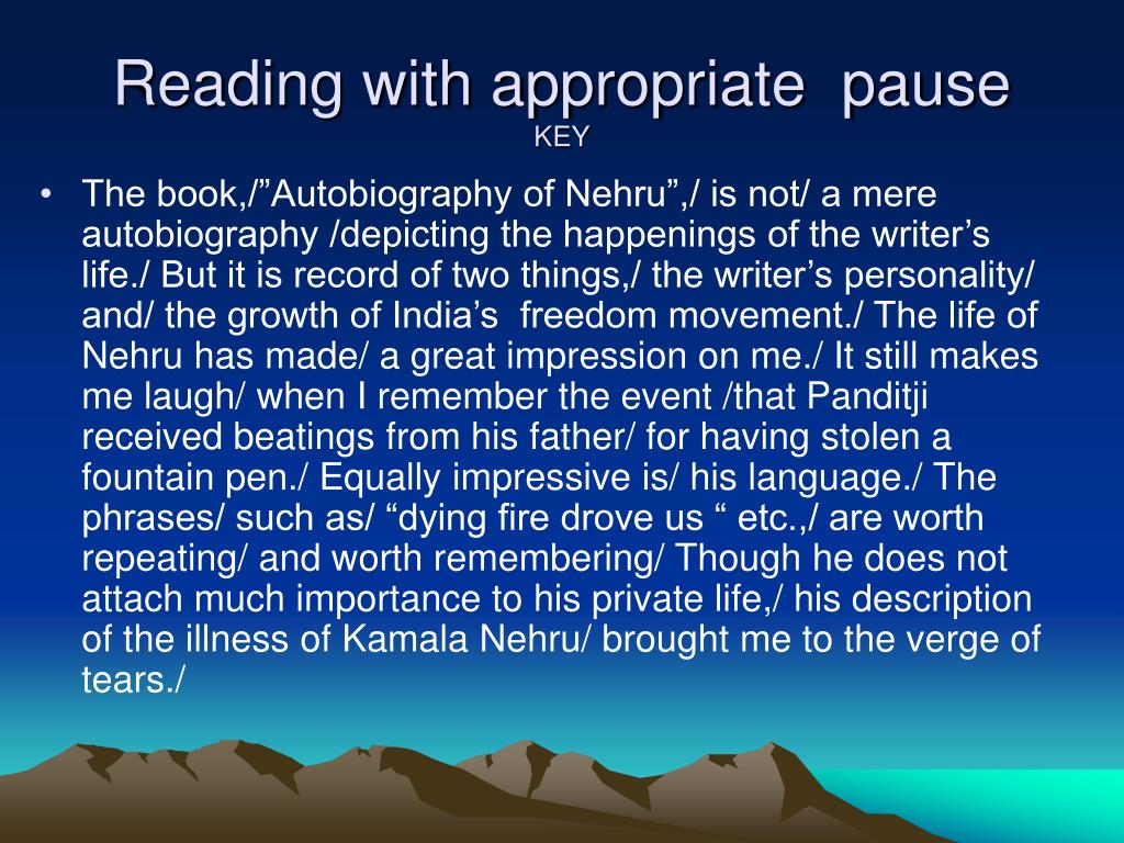 Reading with appropriate  pause