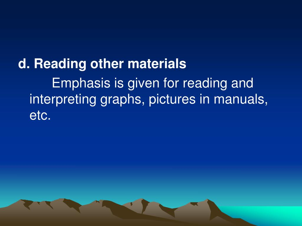 d. Reading other materials