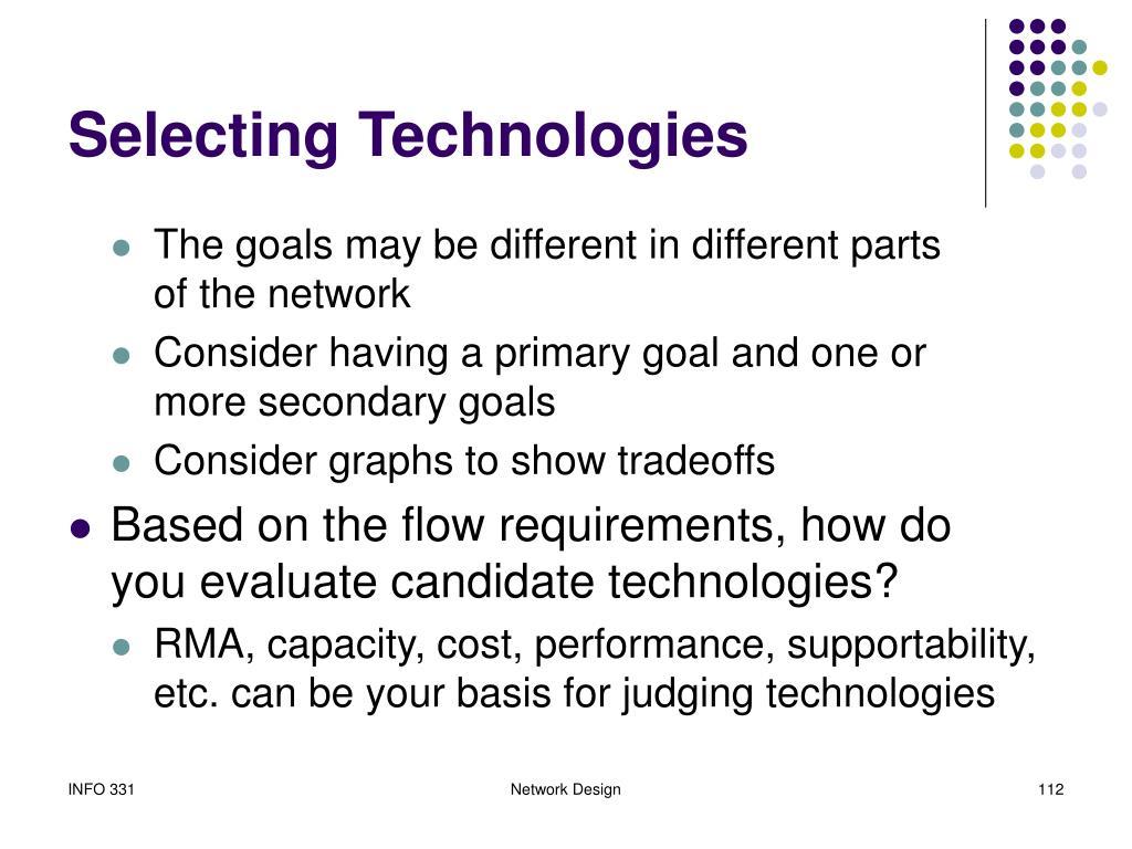 Selecting Technologies