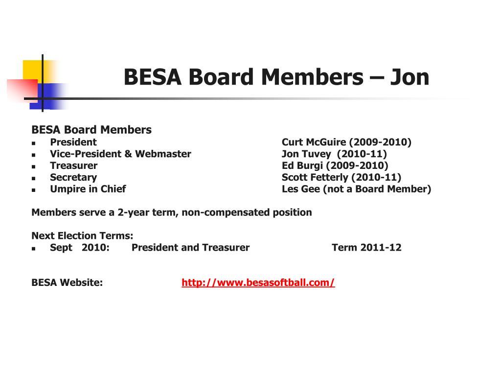 BESA Board Members – Jon