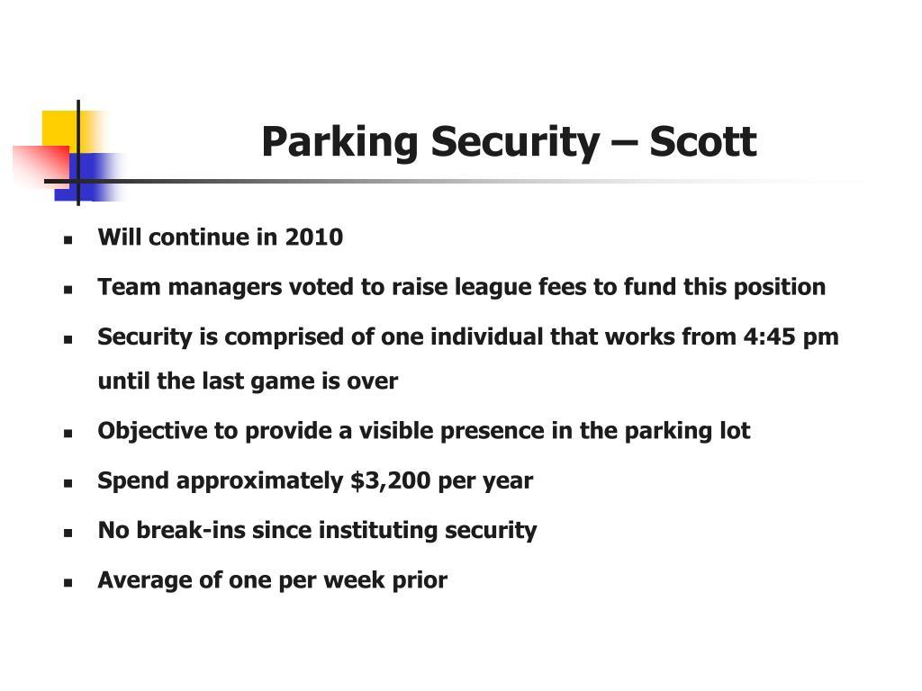 Parking Security – Scott