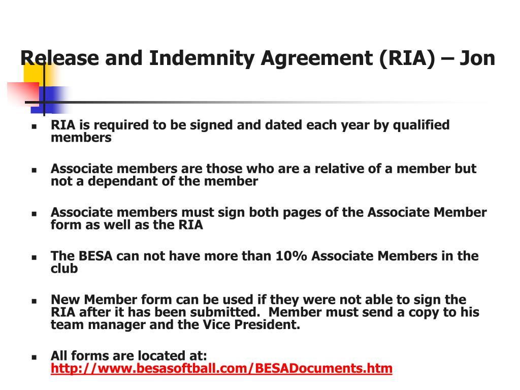 Release and Indemnity Agreement (RIA) – Jon