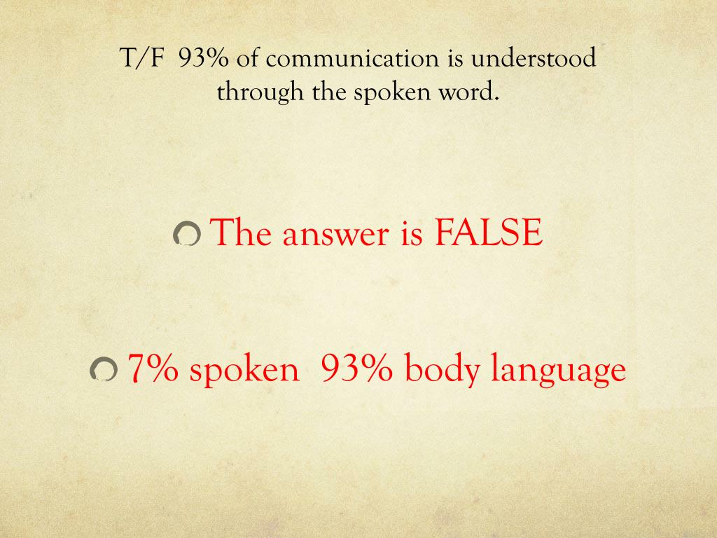 T/F  93% of communication is understood through the spoken word.