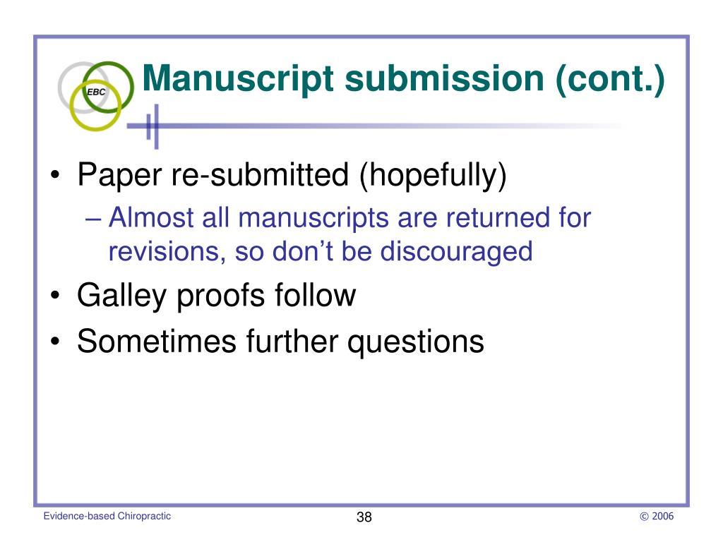 Manuscript submission (cont.)