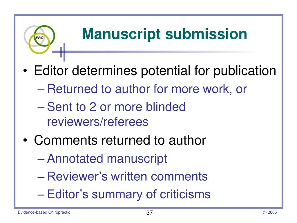 Editor determines potential for publication