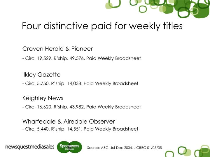 Four distinctive paid for weekly titles l.jpg