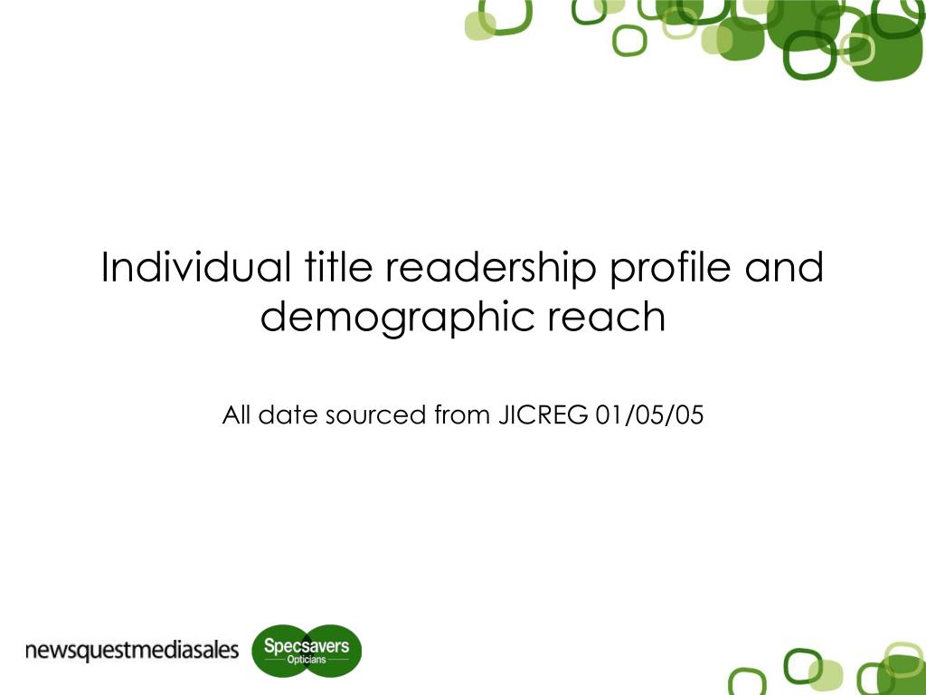 Individual title readership profile and demographic reach