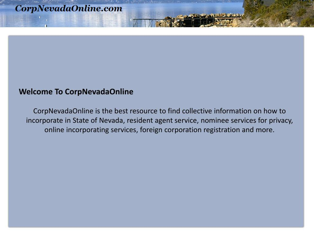 Welcome To CorpNevadaOnline
