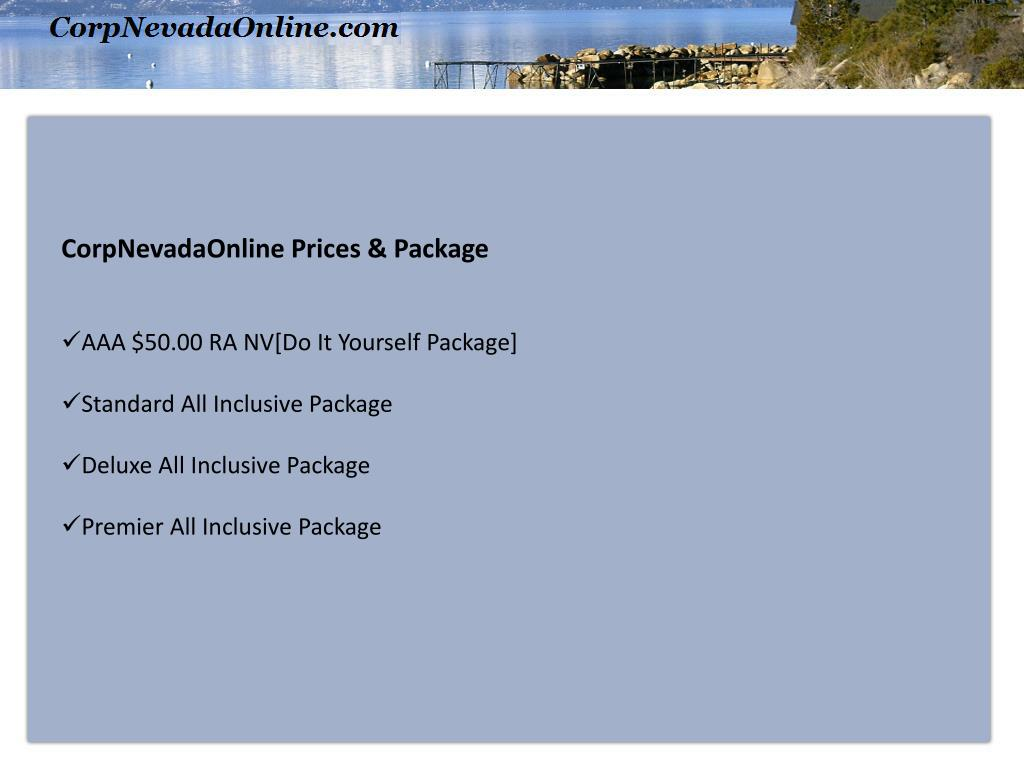 CorpNevadaOnline Prices & Package