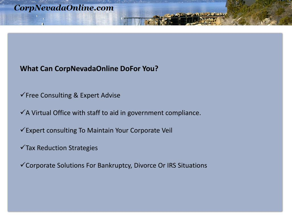 What Can CorpNevadaOnline DoFor You?