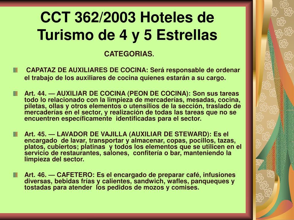 CCT 362/2003 Hoteles de Turismo de 4 y 5 Estrellas