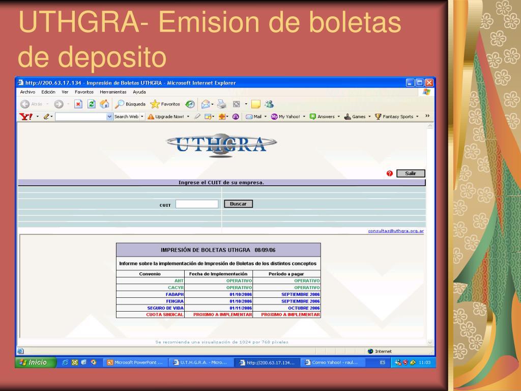 UTHGRA- Emision de boletas de deposito