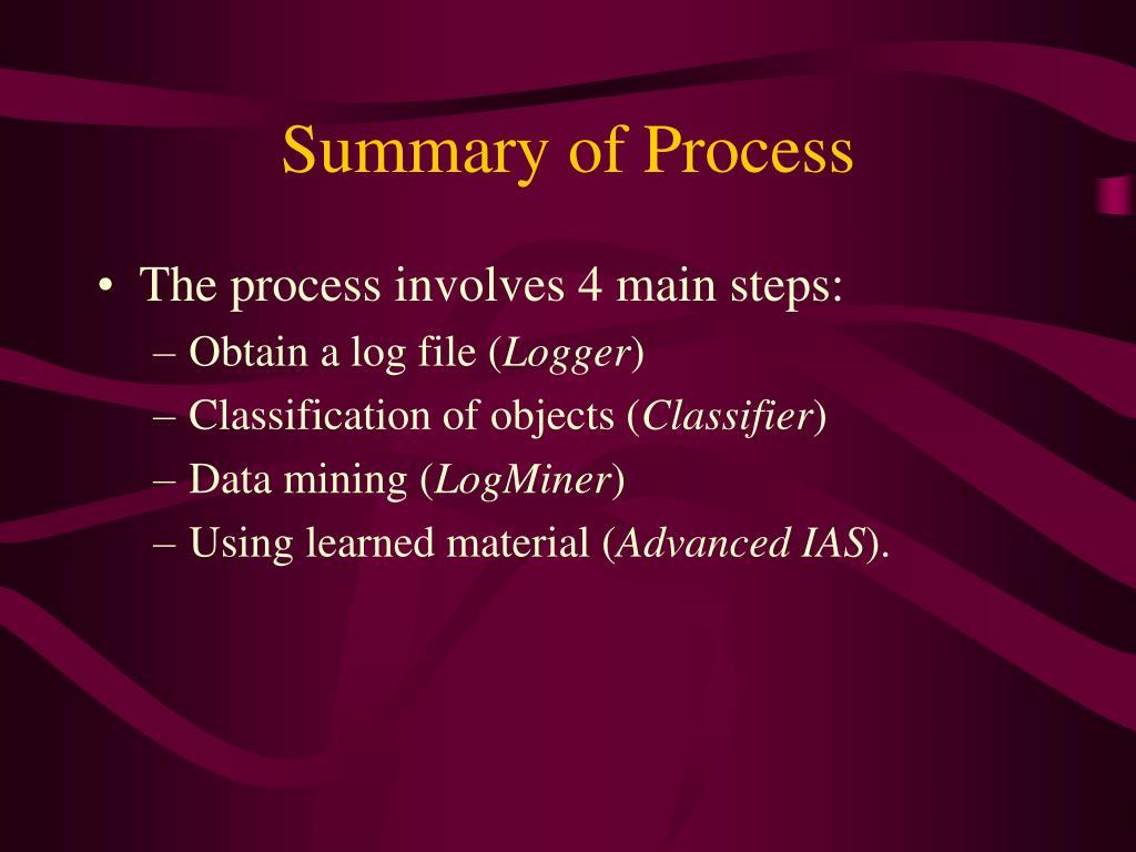 Summary of Process