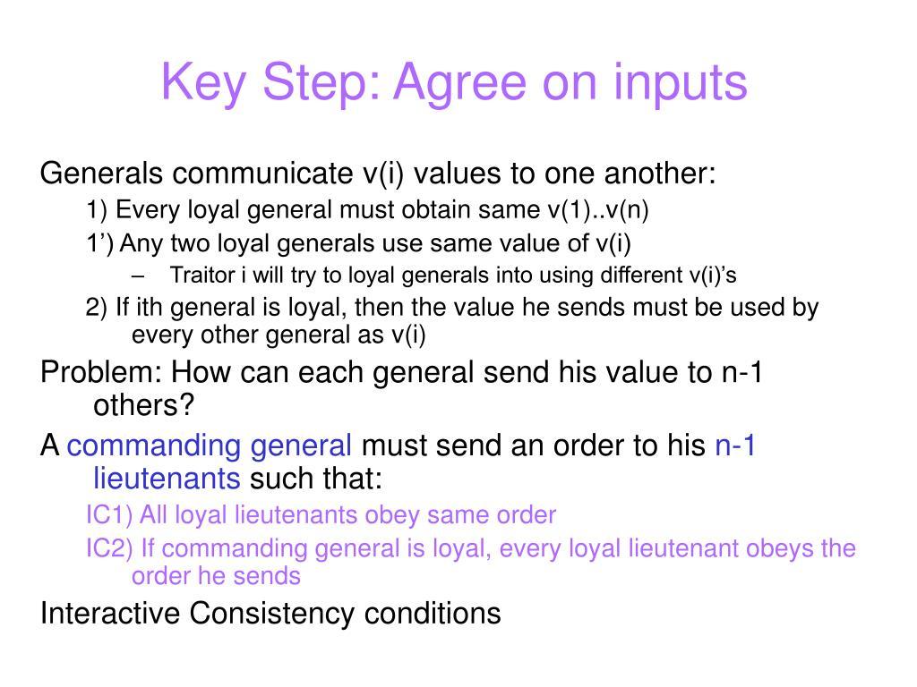 Key Step: Agree on inputs