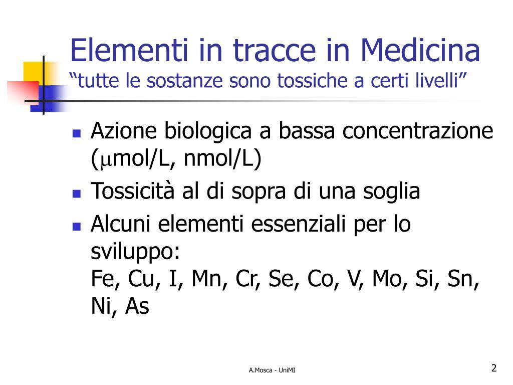 Elementi in tracce in Medicina