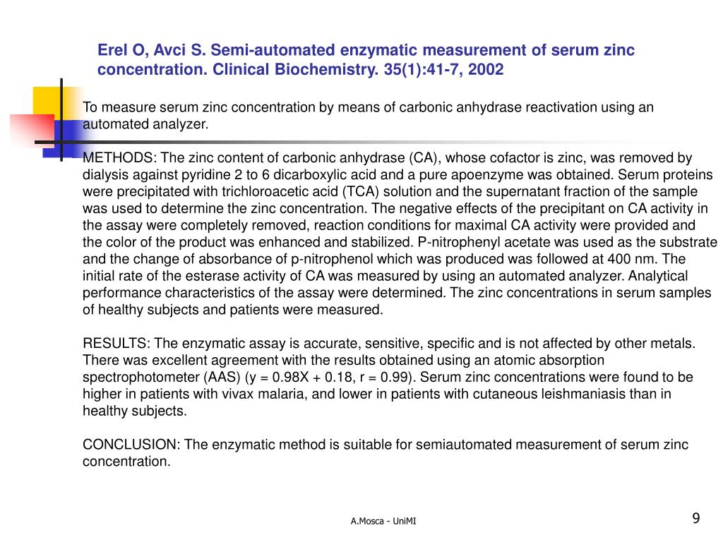 Erel O, Avci S. Semi-automated enzymatic measurement of serum zinc concentration.