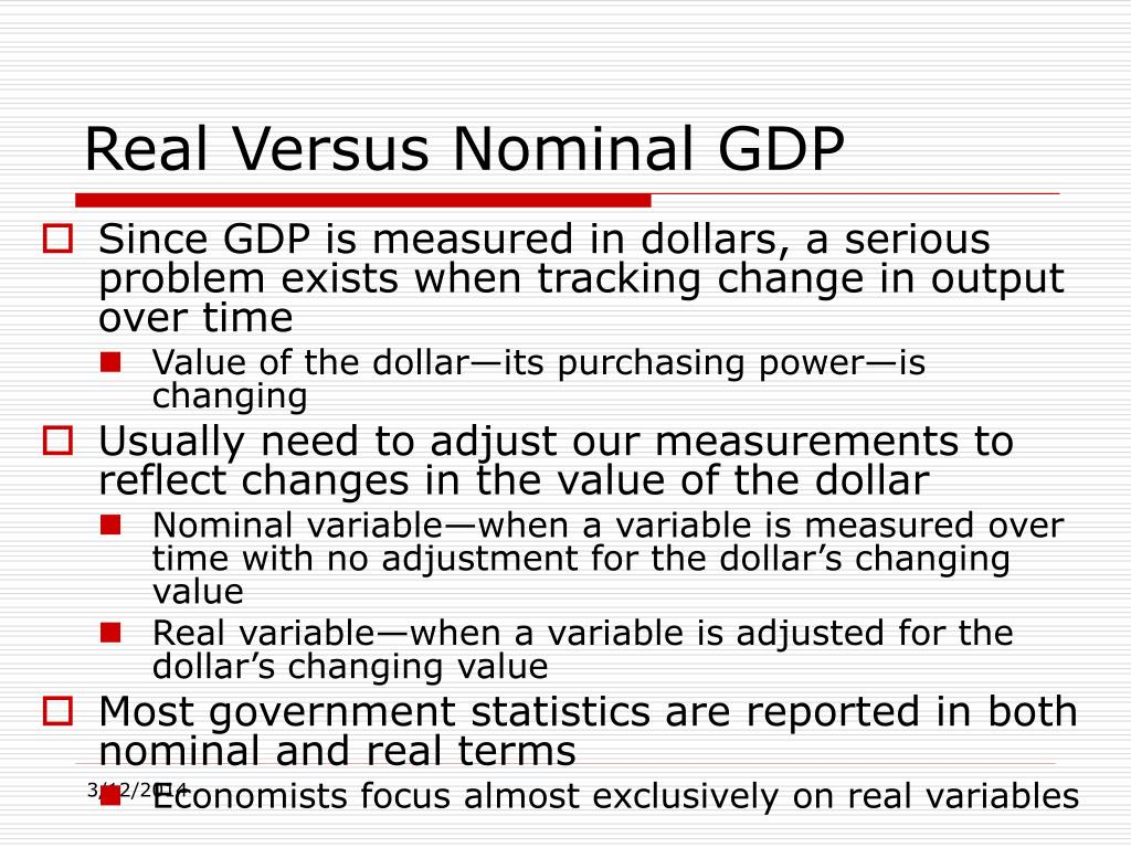 the real meaning of gdp For year over year gdp growth, real gdp is usually used, as it gives  that  could mean loans for cars and homes would be more expensive.