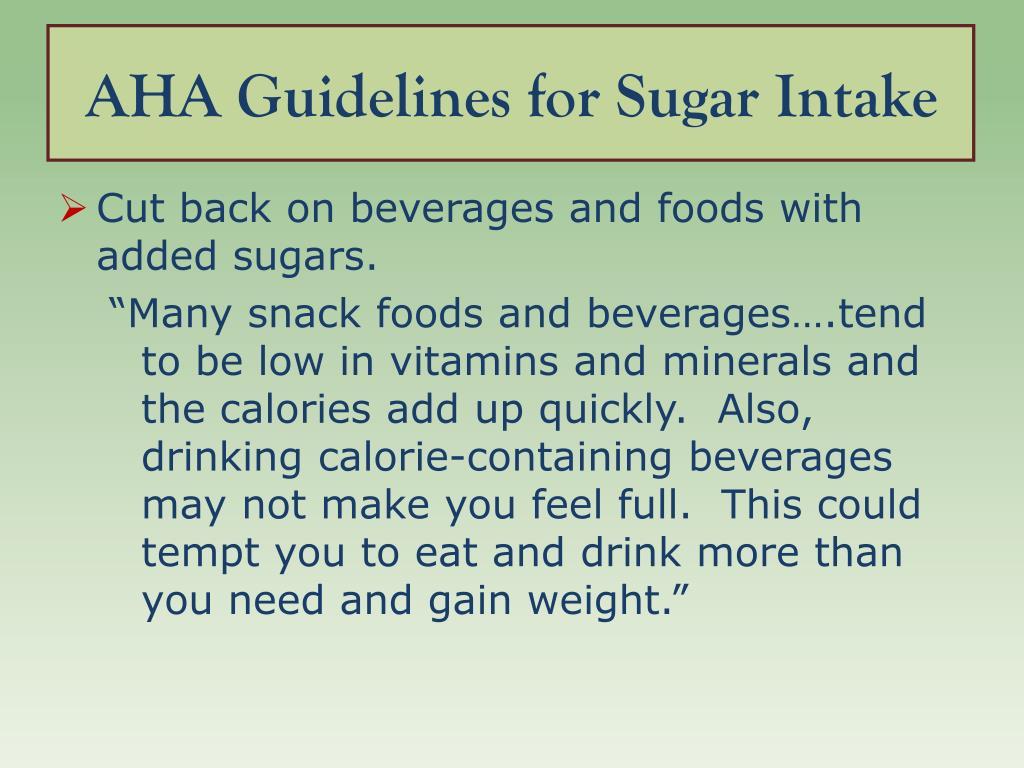AHA Guidelines for Sugar Intake