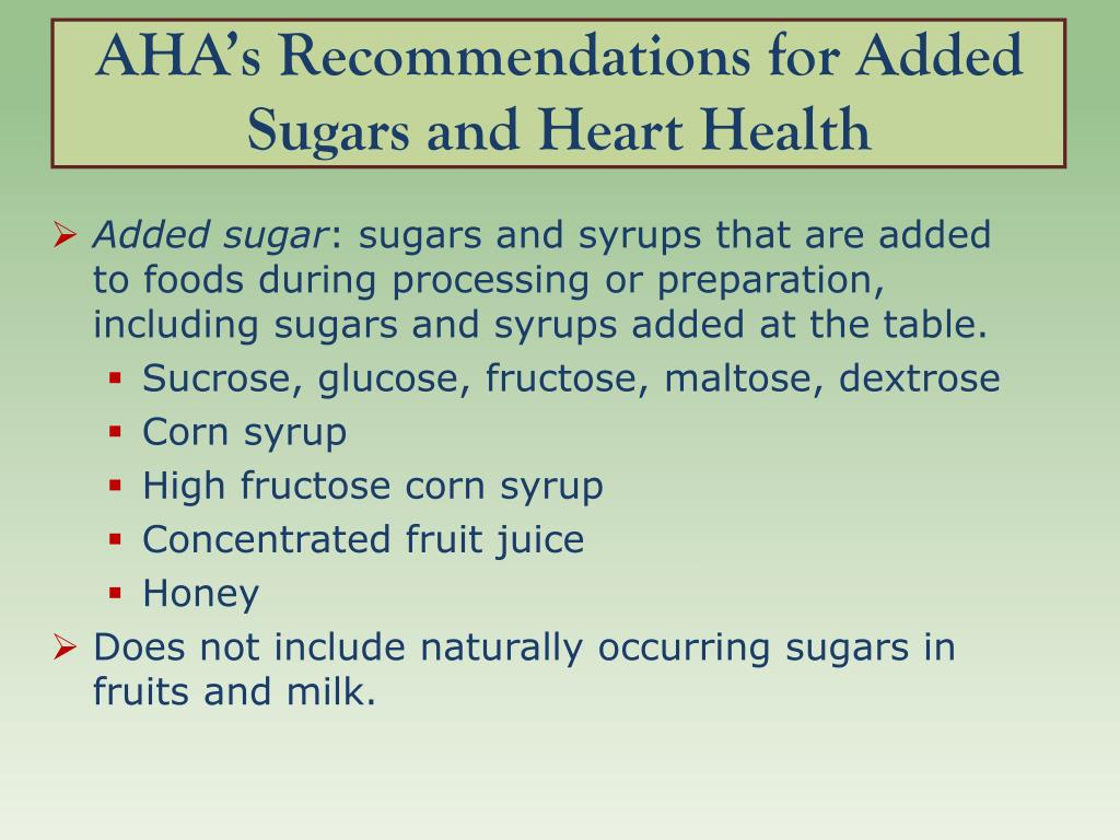 AHA's Recommendations for Added Sugars and Heart Health