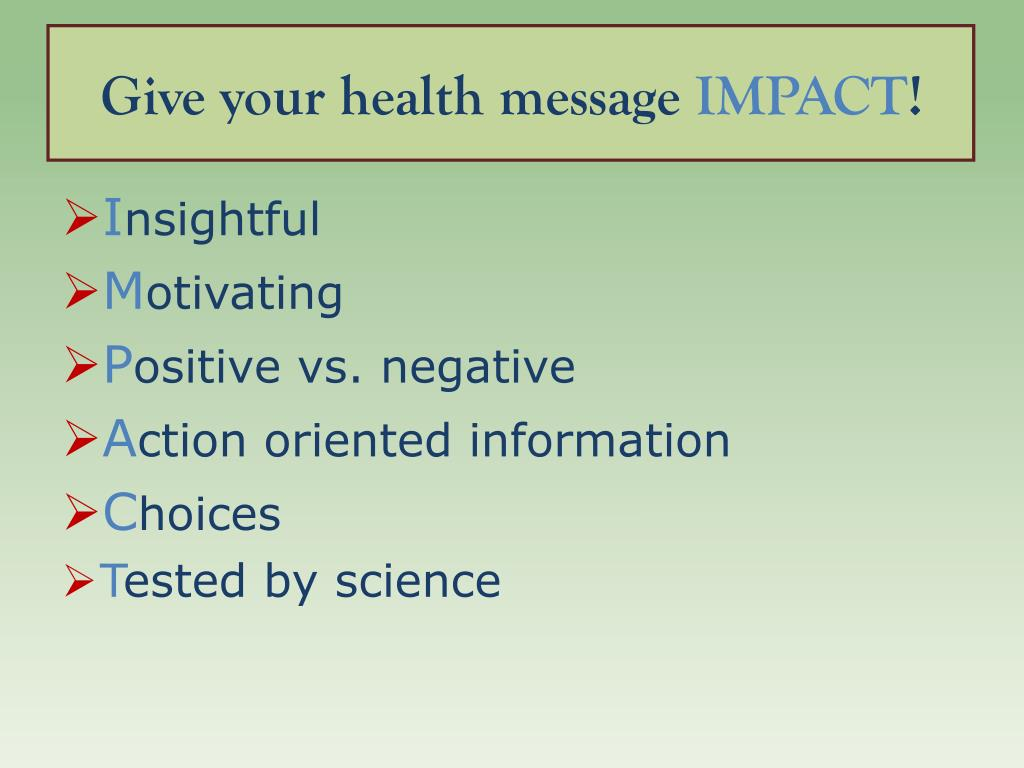 Give your health message