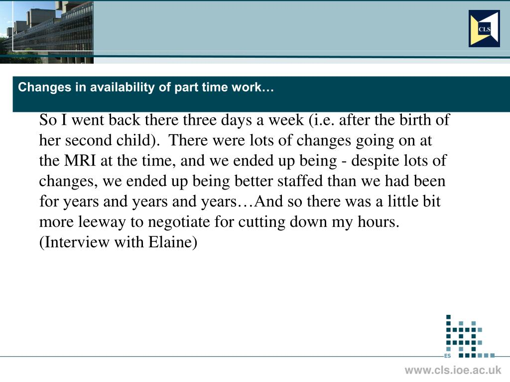 Changes in availability of part time work…