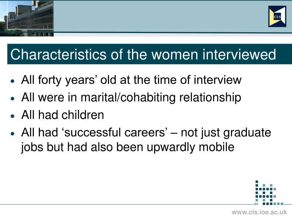 Characteristics of the women interviewed