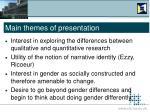main themes of presentation