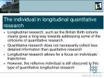 the individual in longitudinal quantitative research