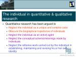 the individual in quantitative qualitative research6