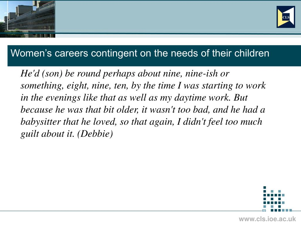 Women's careers contingent on the needs of their children