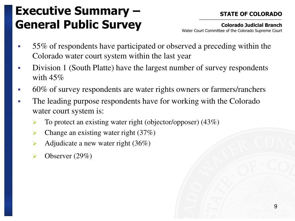 Executive Summary – General Public Survey