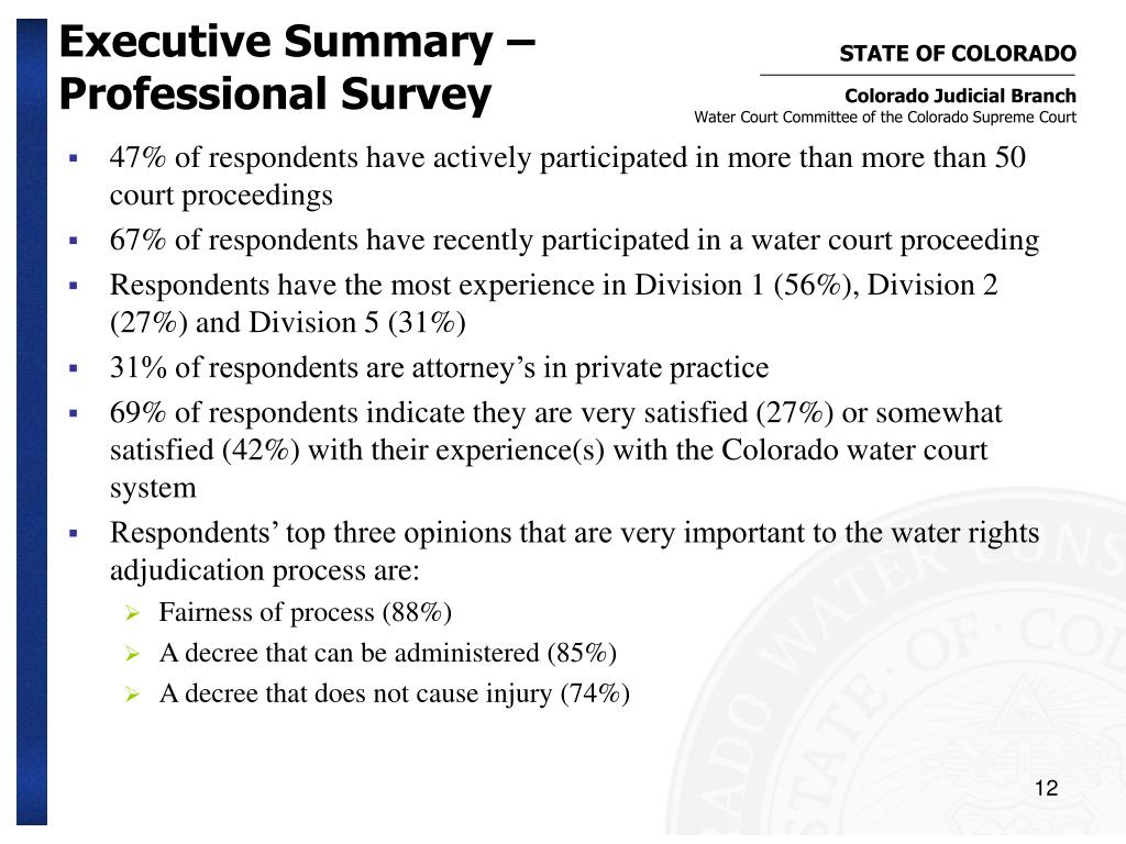 Executive Summary – Professional Survey