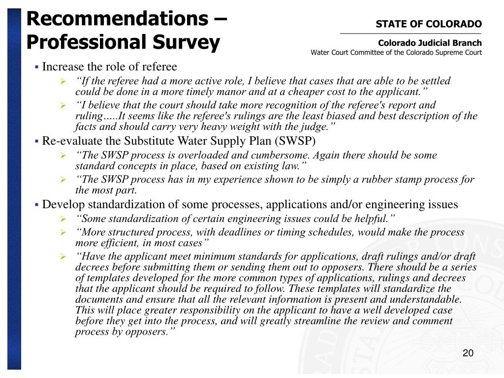 Recommendations –