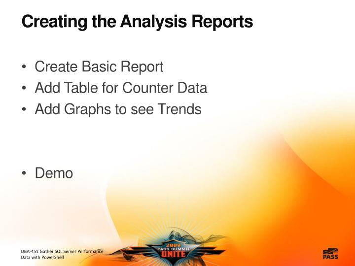 Creating the Analysis Reports