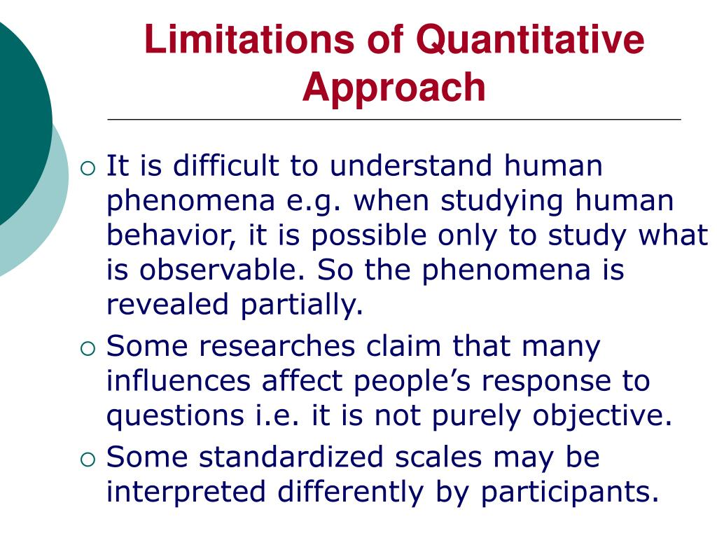 Limitations of Quantitative Approach