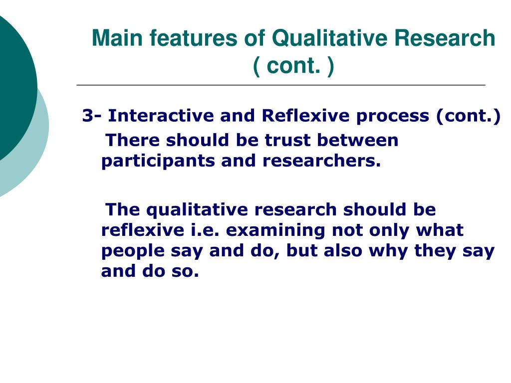 Main features of Qualitative Research