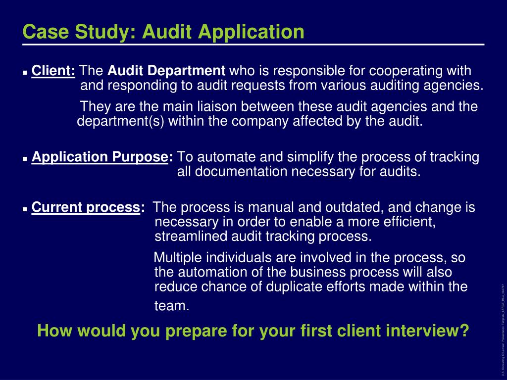Case Study: Audit Application