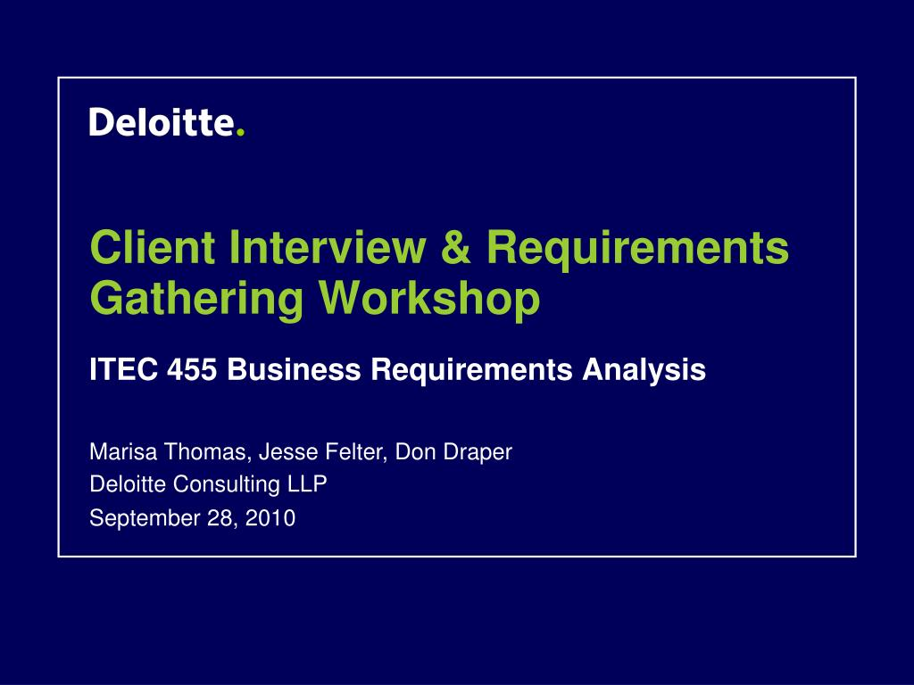 Client Interview & Requirements Gathering Workshop