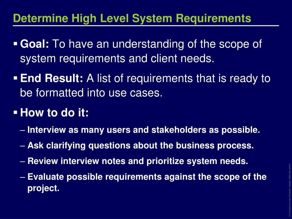 Determine High Level System Requirements