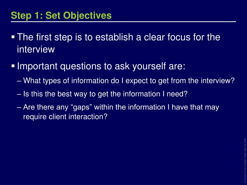 Step 1: Set Objectives