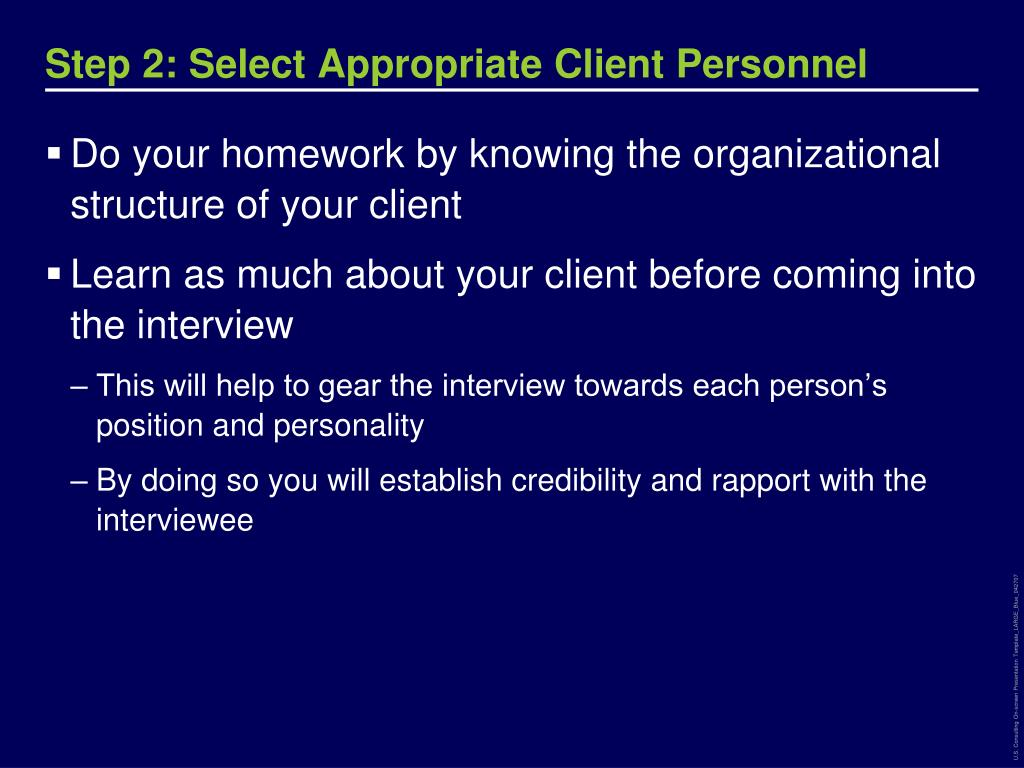 Step 2: Select Appropriate Client Personnel
