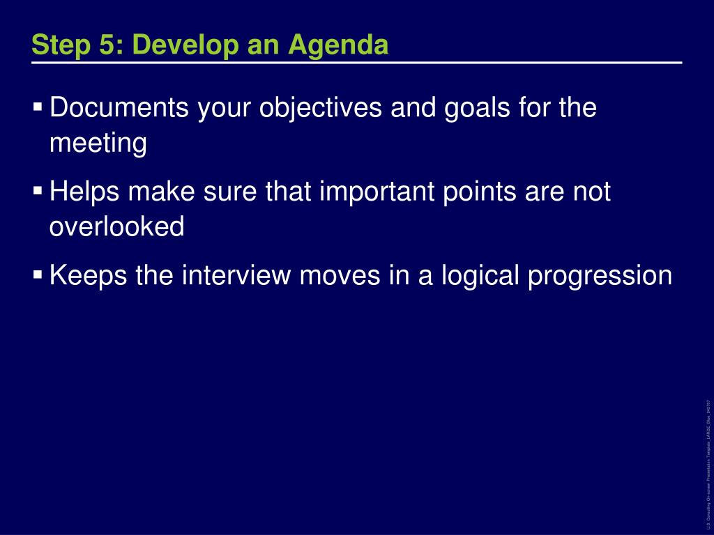 Step 5: Develop an Agenda