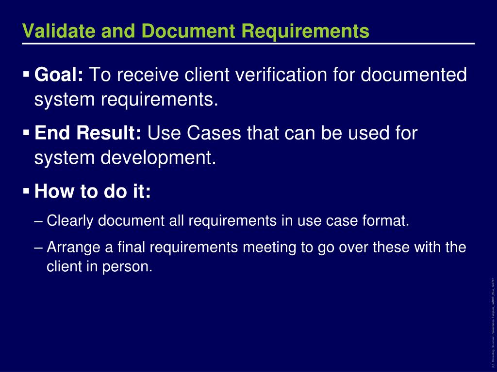 Validate and Document Requirements