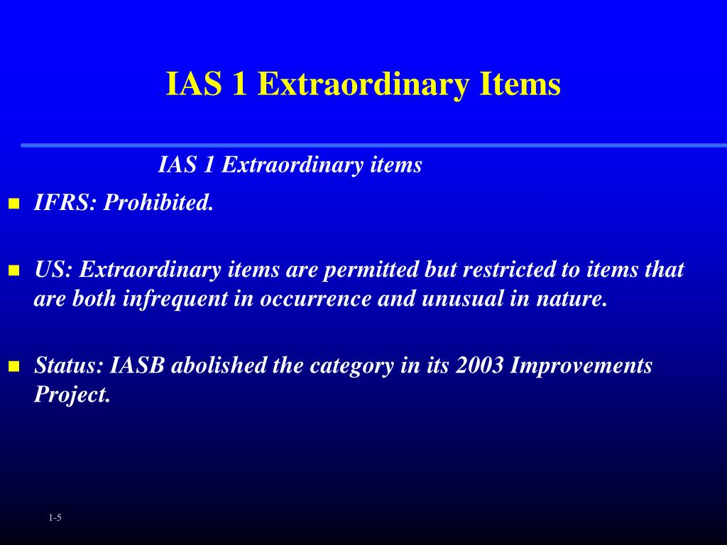 IAS 1 Extraordinary Items