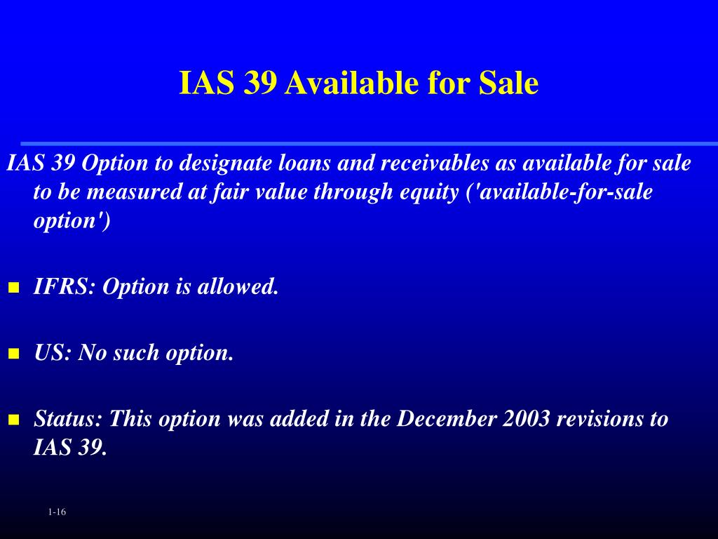 IAS 39 Available for Sale