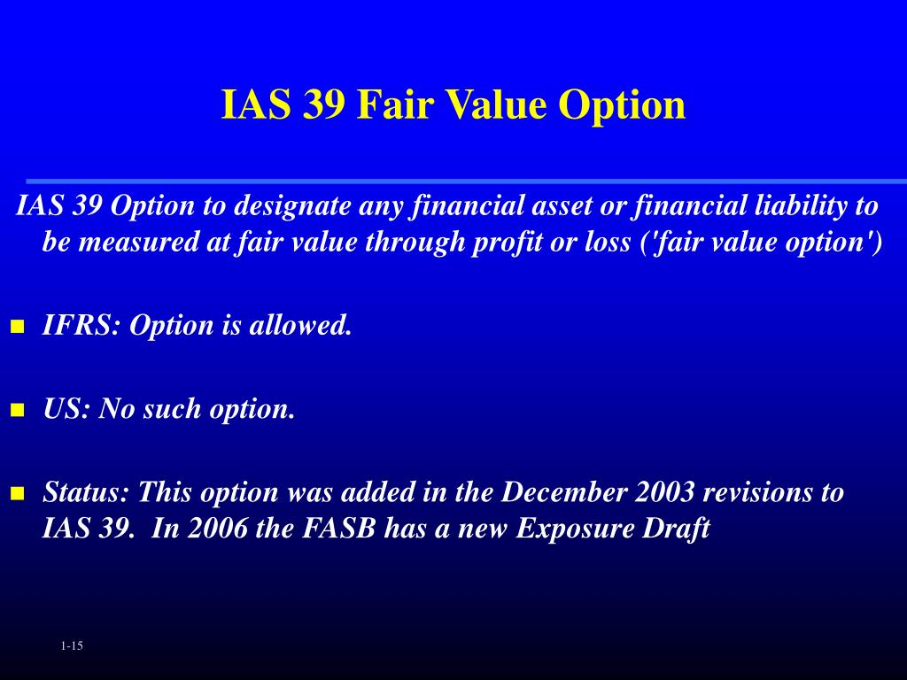 IAS 39 Fair Value Option