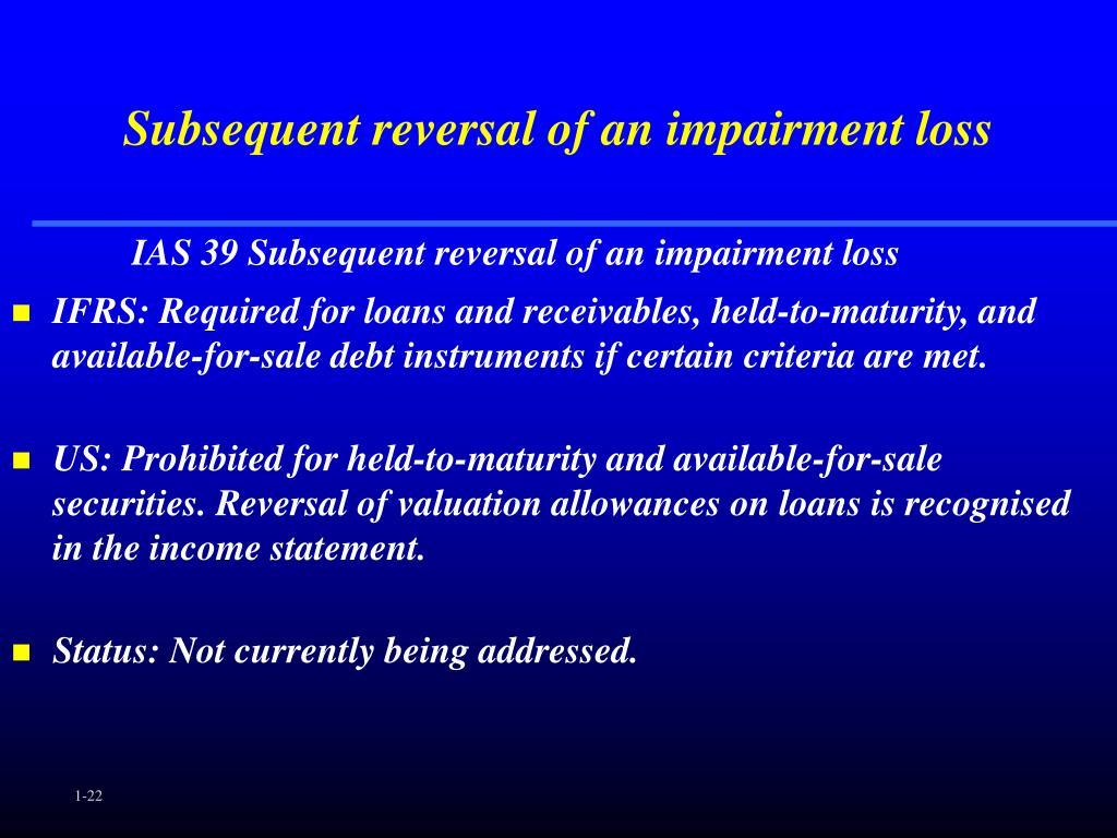 Subsequent reversal of an impairment loss