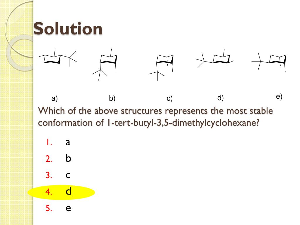 Which of the above structures represents the most stable conformation of 1-tert-butyl-3,5-dimethylcyclohexane?