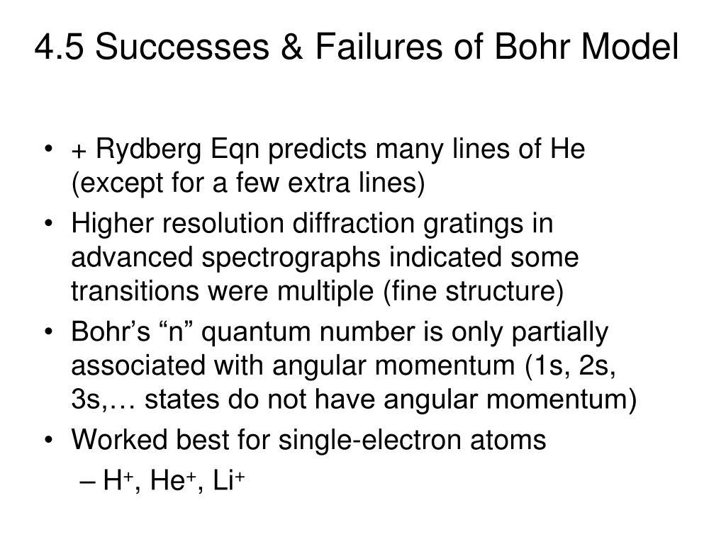 4.5 Successes & Failures of Bohr Model