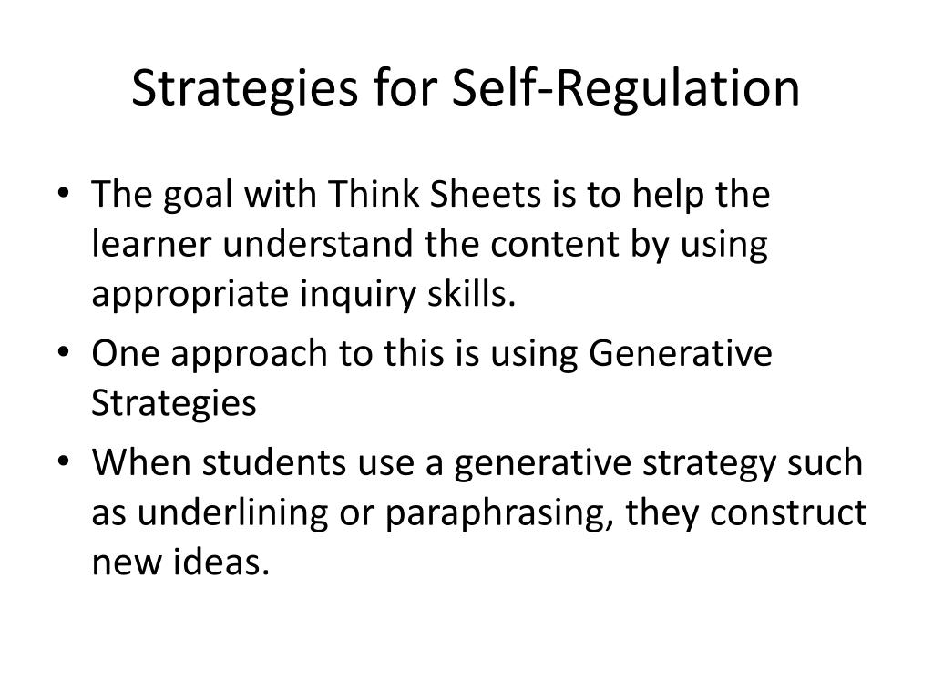 Strategies for Self-Regulation